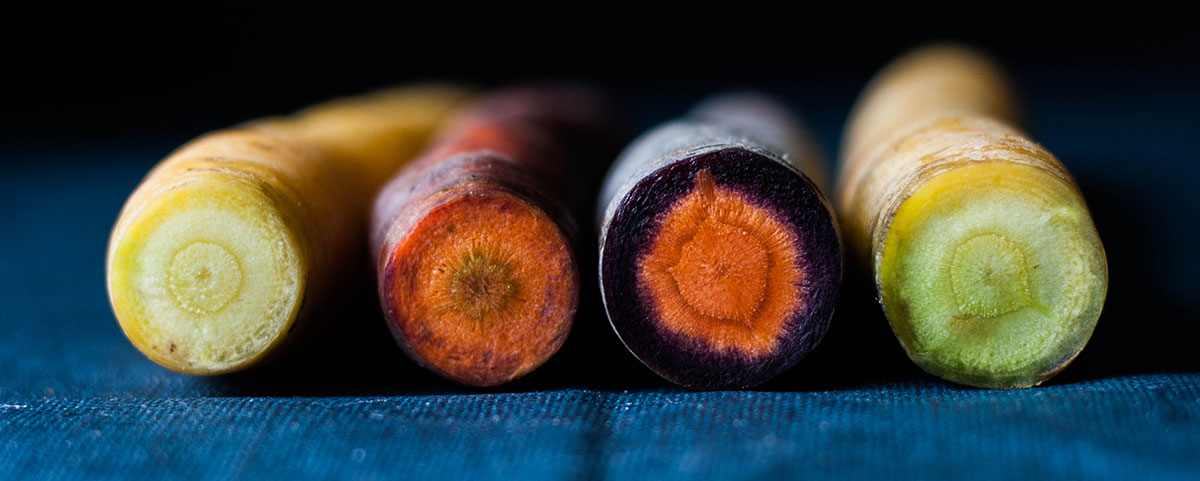 Rainbow carrots, so beautiful and colourful.