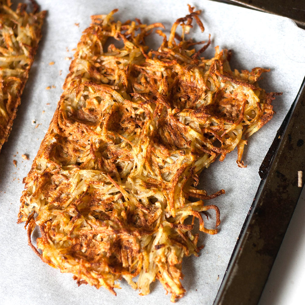 Crispy Golden Hash Brown Waffles make a perfect side for breakfast or brunch