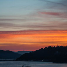 Sunrise over the port in Vigo, Spain.