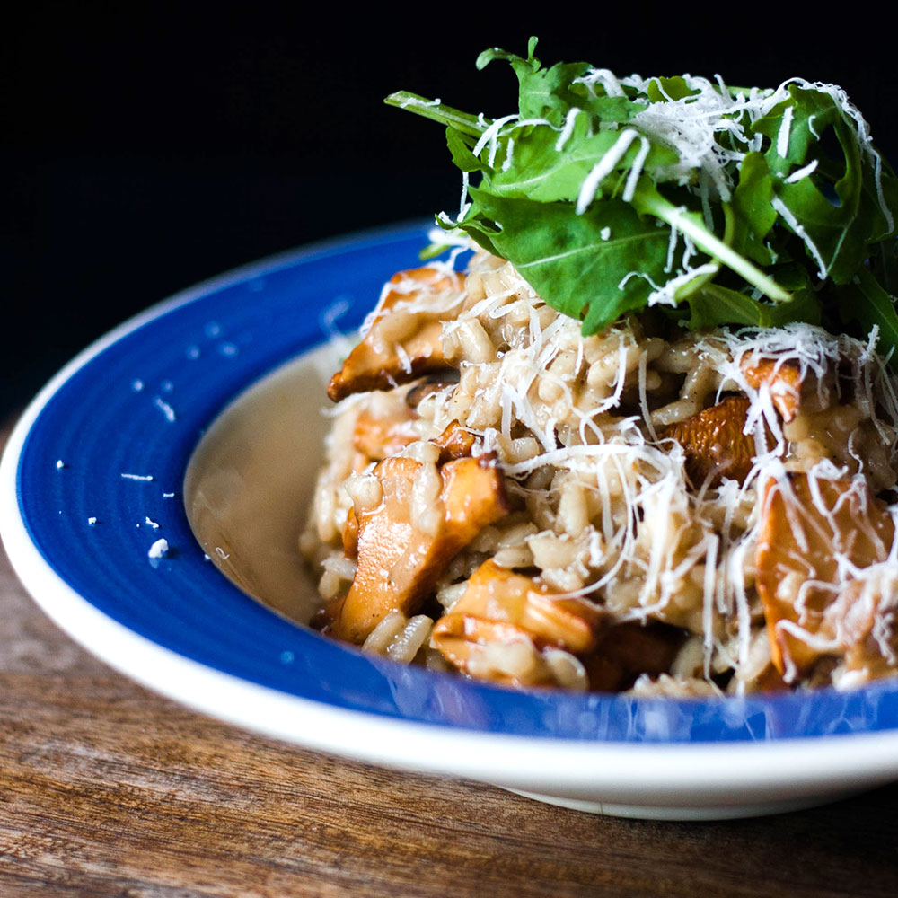 This wild mushroom risotto recipe uses chanterelles and thyme.