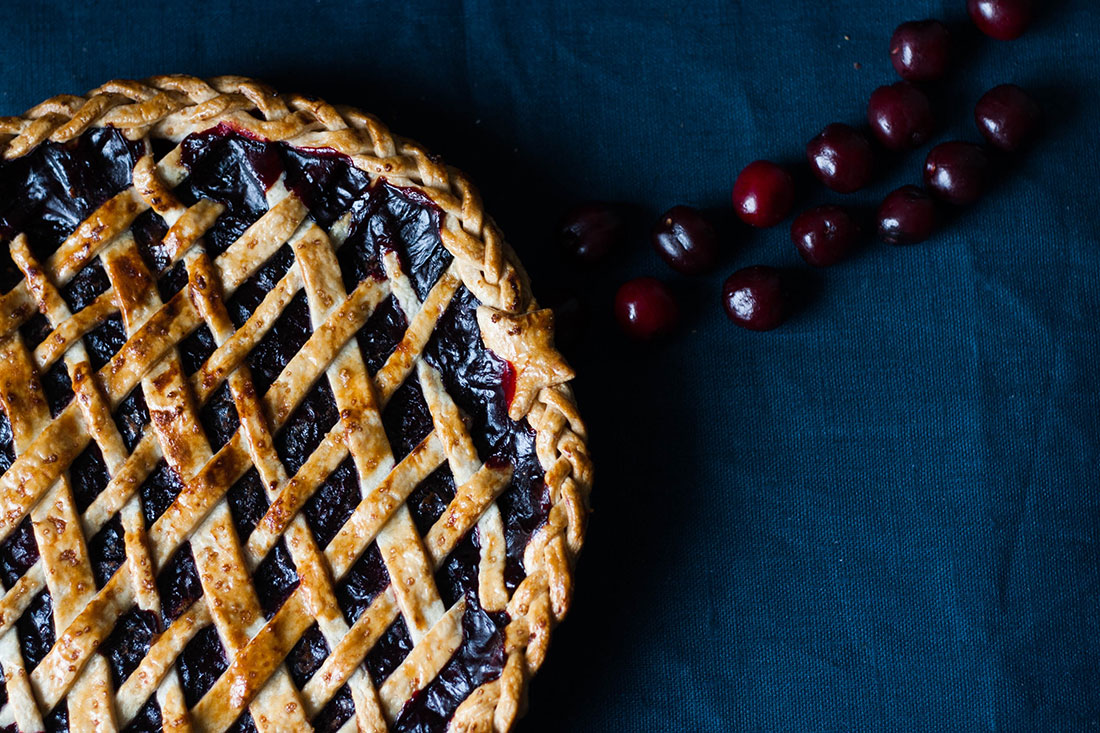 Cherries and blackberries come together for this wonderful lattice pie
