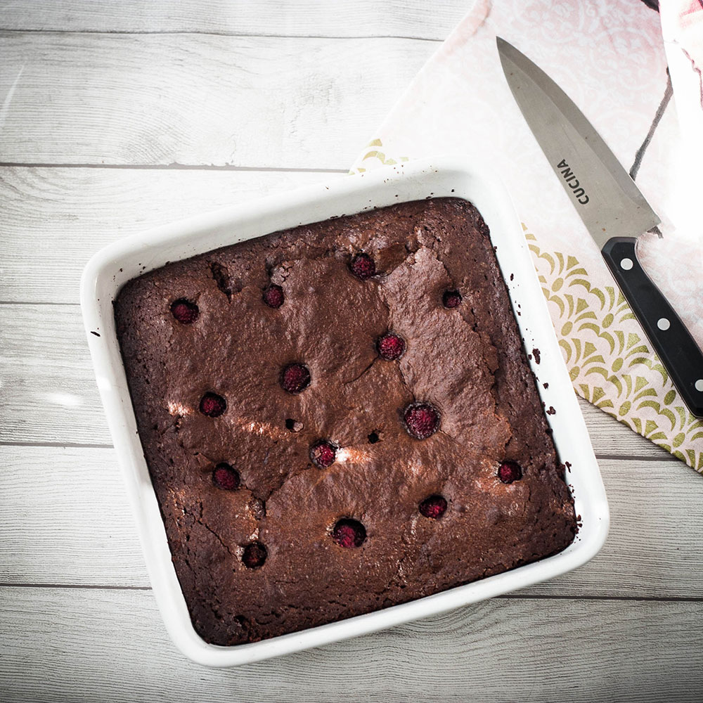 This chocolate brownies recipe is ridiculously gooey, with delicious raspberries